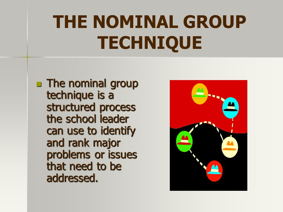 THE NOMINAL GROUP TECHNIQUE The nominal group technique is a structured process the school leader can use to identify and rank major problems or issue