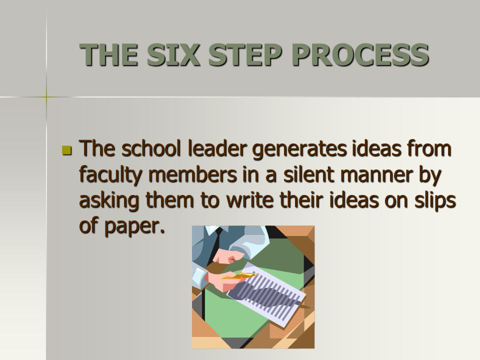 THE SIX STEP PROCESS Each faculty member contributes an idea in a round-robin manner.