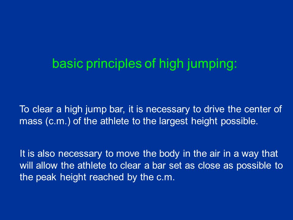 bar height cleared peak height reached by center of mass (c.m.) effectiveness of bar clearance