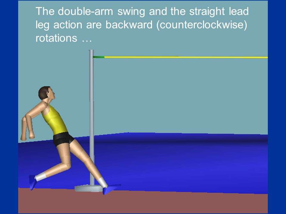 The double-arm swing and the straight lead leg action are backward (counterclockwise) rotations …