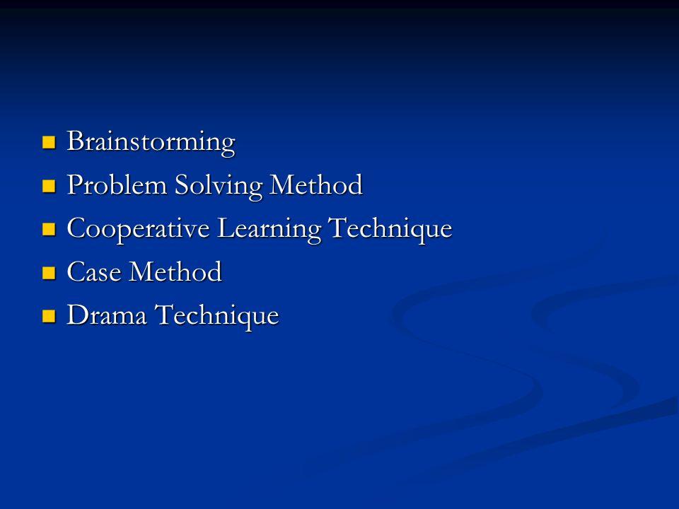 Brainstorming Brainstorming Problem Solving Method Problem Solving Method Cooperative Learning Technique Cooperative Learning Technique Case Method Ca