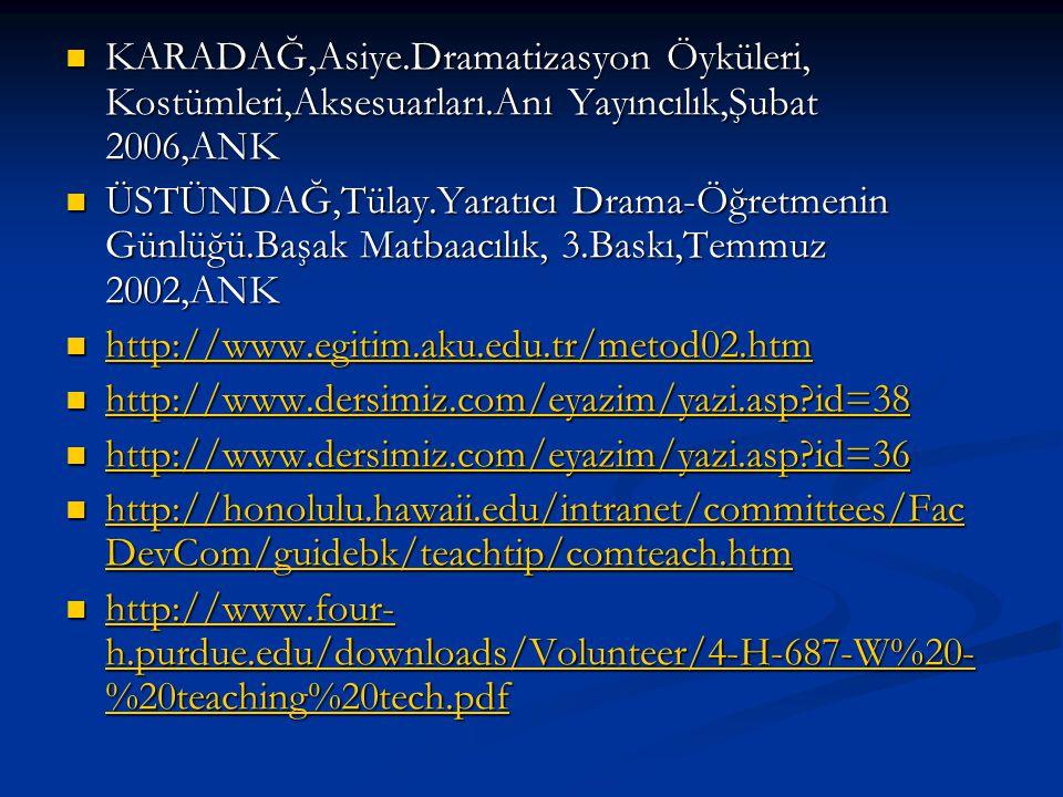 KARADAĞ,Asiye.Dramatizasyon Öyküleri, Kostümleri,Aksesuarları.Anı Yayıncılık,Şubat 2006,ANK KARADAĞ,Asiye.Dramatizasyon Öyküleri, Kostümleri,Aksesuarl