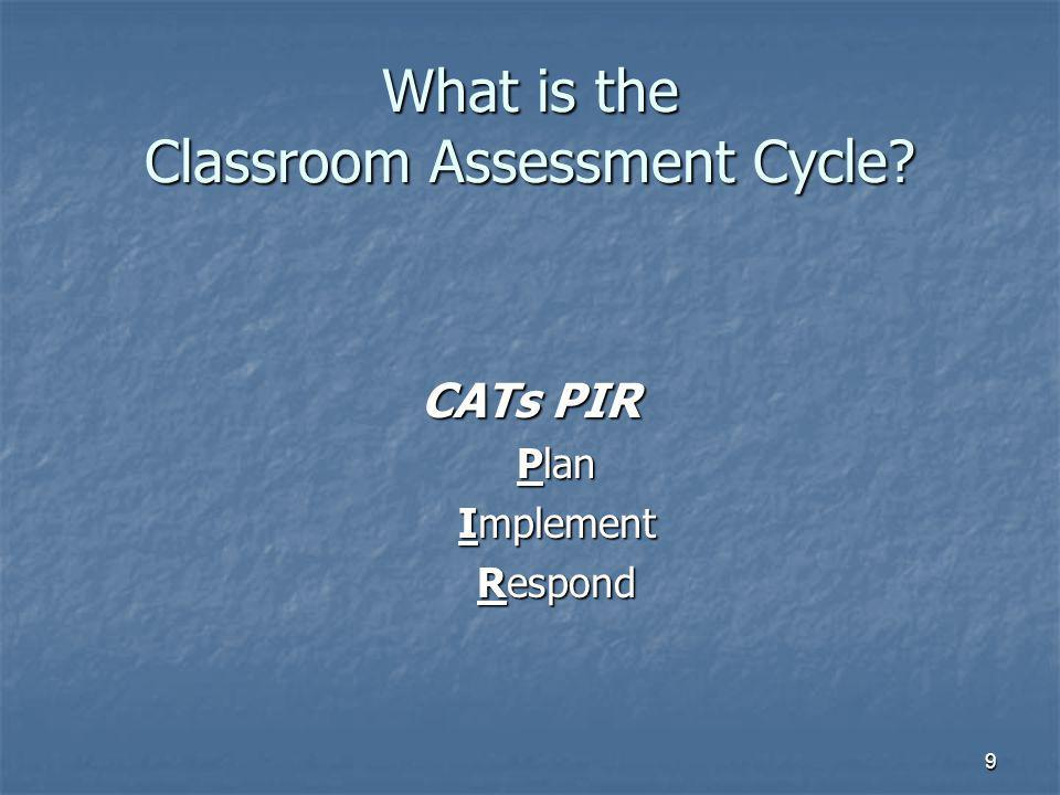 9 What is the Classroom Assessment Cycle CATs PIR Plan Implement Respond