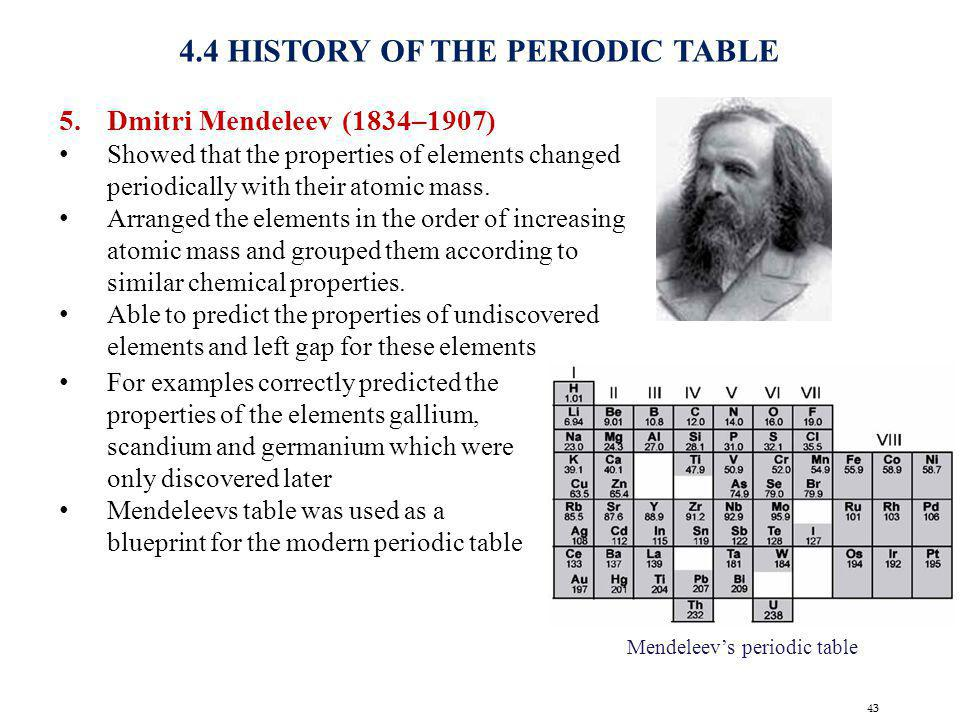 43 4.4 HISTORY OF THE PERIODIC TABLE 5.Dmitri Mendeleev (1834–1907) Showed that the properties of elements changed periodically with their atomic mass
