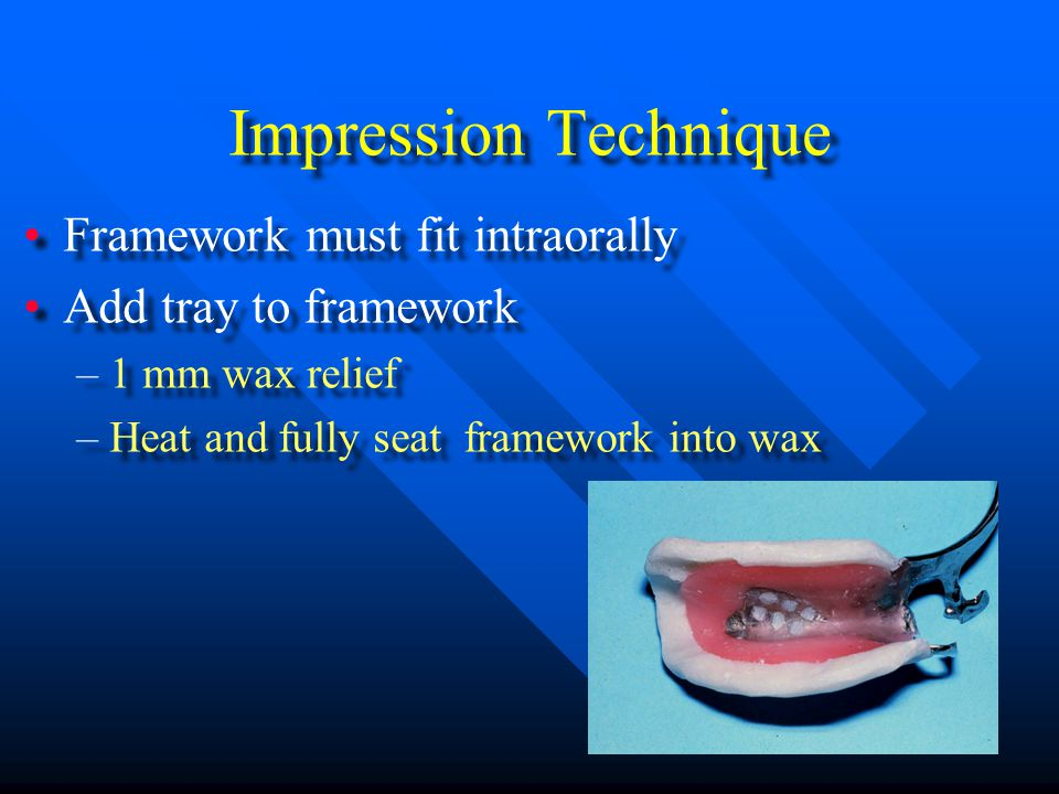 Potential Problems with the Altered Cast Technique Framework not seated either during impression (material under rest, gp) or when being poured will result in an RPD that wont fit properly on teeth/tissues Stone leaking over teeth during pouring makes articulation impossible Framework not seated either during impression (material under rest, gp) or when being poured will result in an RPD that wont fit properly on teeth/tissues Stone leaking over teeth during pouring makes articulation impossible