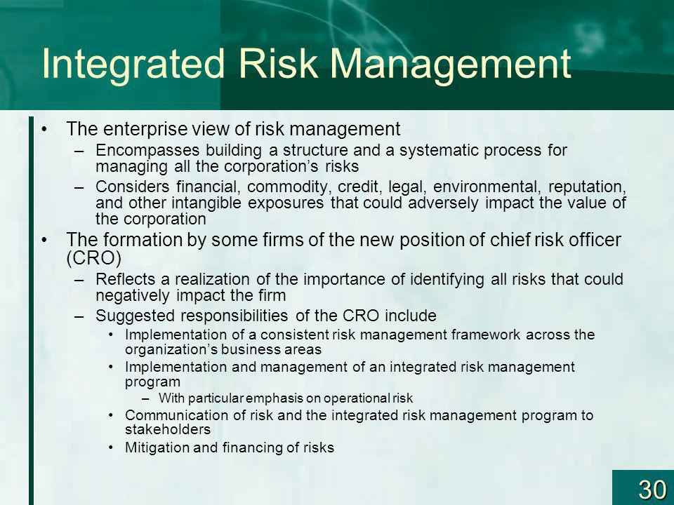 30 Integrated Risk Management The enterprise view of risk management –Encompasses building a structure and a systematic process for managing all the c