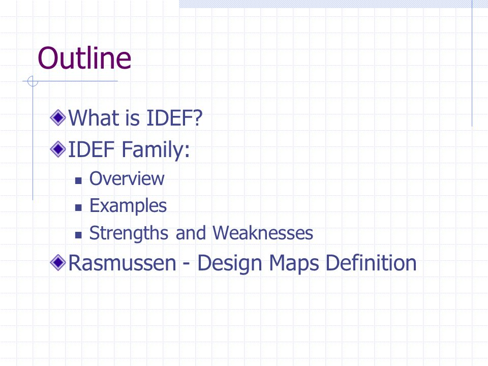 IDEF1- Information Modeling Method Main IDEF1 Concepts Entities: Represent the information maintained in a system about the real-world objects Distinguishing properties: Persistent May be individuated Attributes: Key Non-key Relations: Association between entities