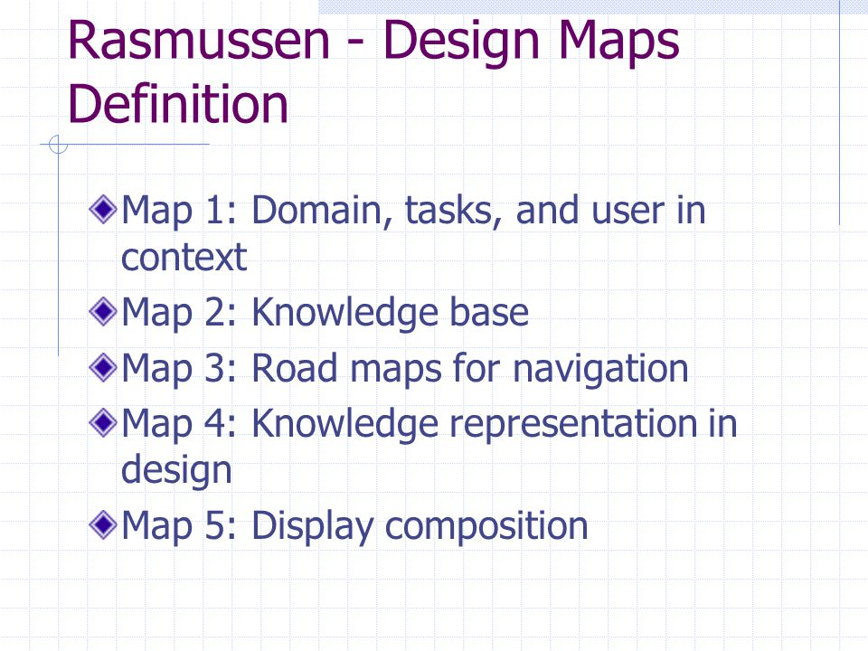 Rasmussen - Design Maps Definition Map 1: Domain, tasks, and user in context Map 2: Knowledge base Map 3: Road maps for navigation Map 4: Knowledge re