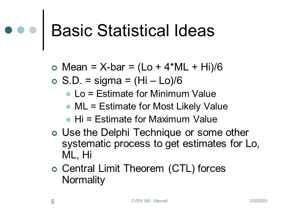 3/20/2003CVEN 349 - Maxwell 16 Record of Past Guesses for Room 110 CEB Lo = ML = Hi = Length = Variance = Prob.