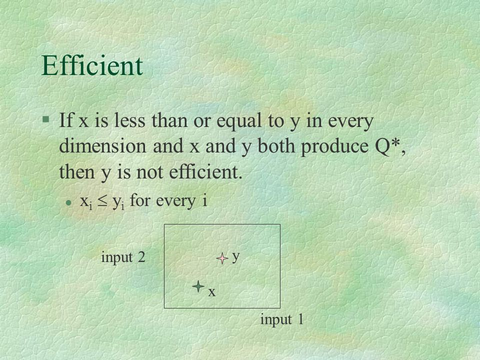 Efficient §If x is less than or equal to y in every dimension and x and y both produce Q*, then y is not efficient.