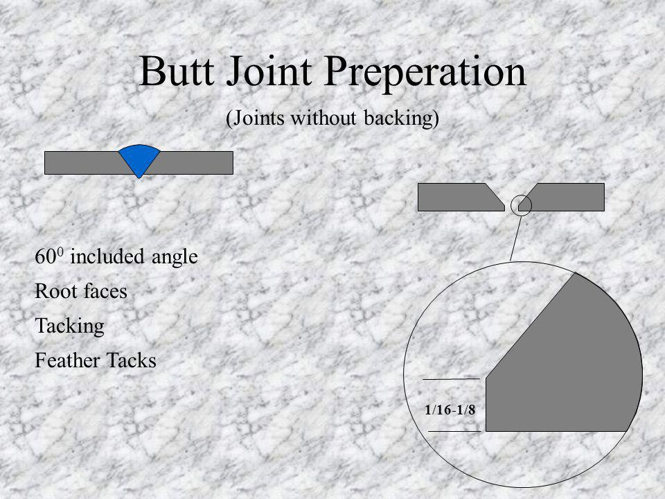 60 0 included angle Root faces Tacking Feather Tacks Butt Joint Preperation 1/16-1/8 (Joints without backing)