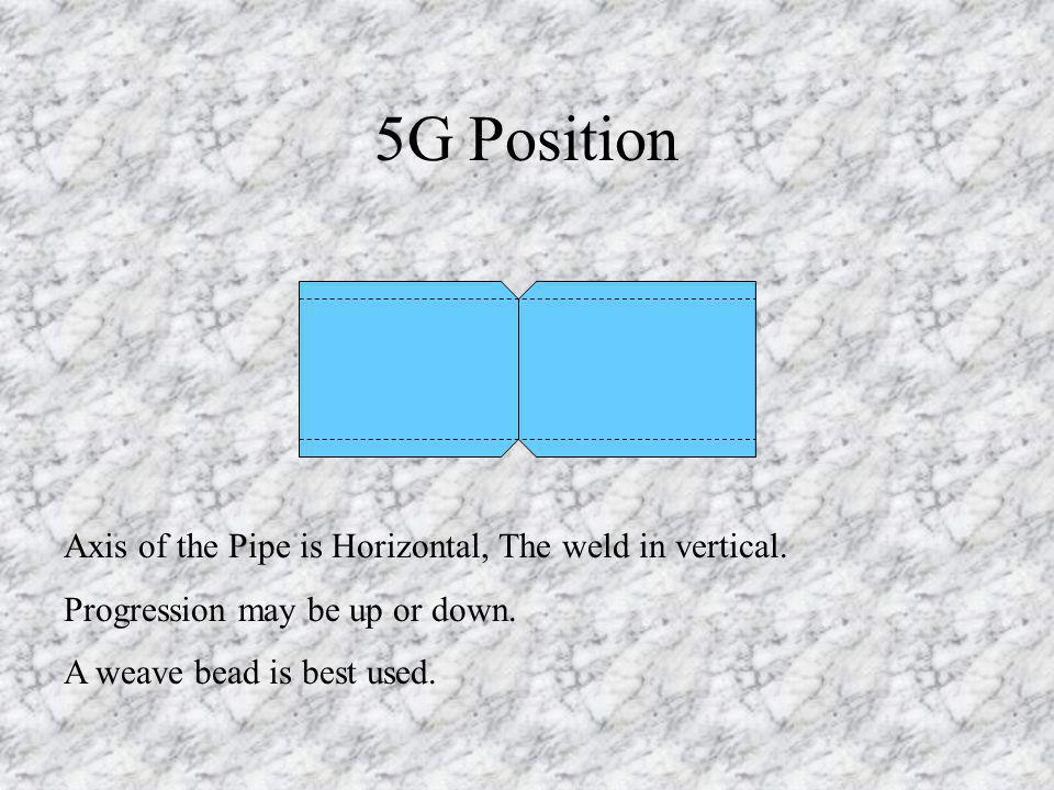 5G Position Axis of the Pipe is Horizontal, The weld in vertical. Progression may be up or down. A weave bead is best used.