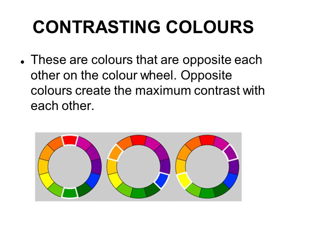 CONTRASTING COLOURS These are colours that are opposite each other on the colour wheel. Opposite colours create the maximum contrast with each other.