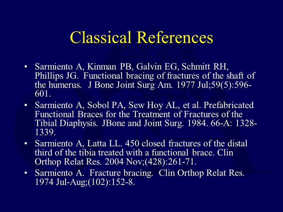 Classical References Sarmiento A, Kinman PB, Galvin EG, Schmitt RH, Phillips JG.