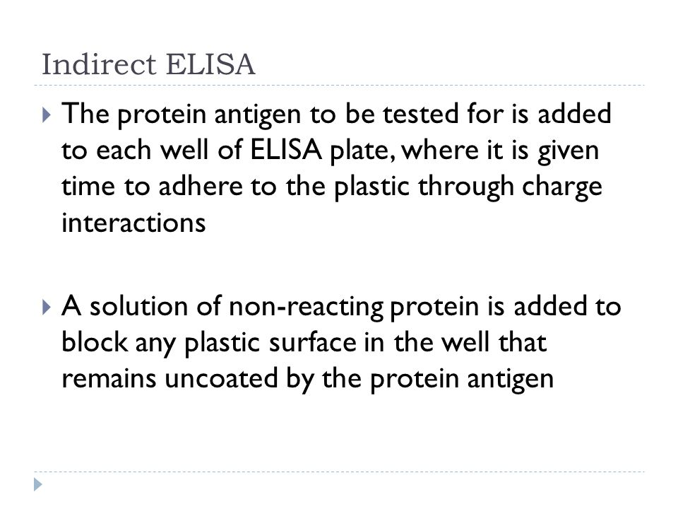 Indirect ELISA The protein antigen to be tested for is added to each well of ELISA plate, where it is given time to adhere to the plastic through char