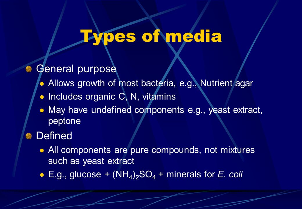 Types of media General purpose Allows growth of most bacteria, e.g., Nutrient agar Includes organic C, N, vitamins May have undefined components e.g.,