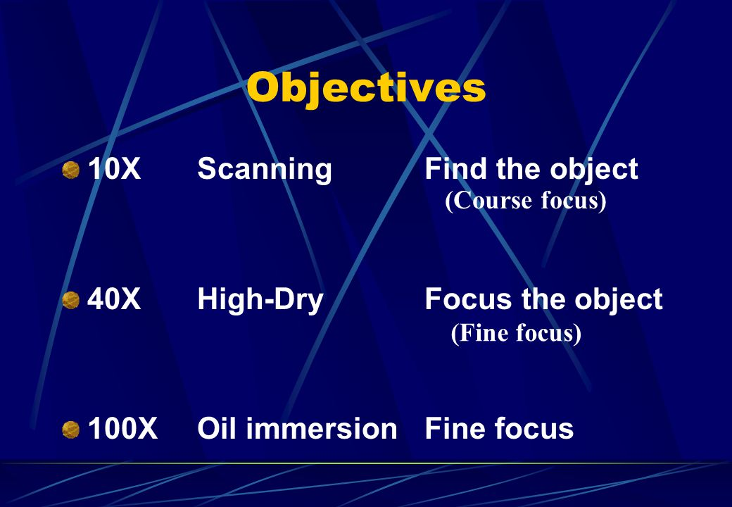 Objectives 10XScanning Find the object 40XHigh-Dry Focus the object 100XOil immersion Fine focus (Course focus) (Fine focus)