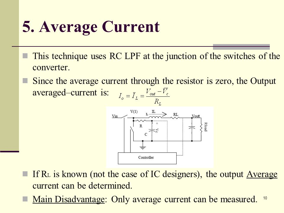 10 5.Average Current This technique uses RC LPF at the junction of the switches of the converter.