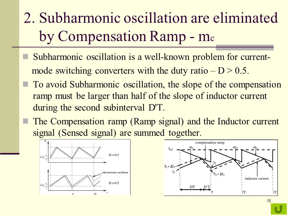 18 2. Subharmonic oscillation are eliminated by Compensation Ramp - m c Subharmonic oscillation is a well-known problem for current- mode switching co