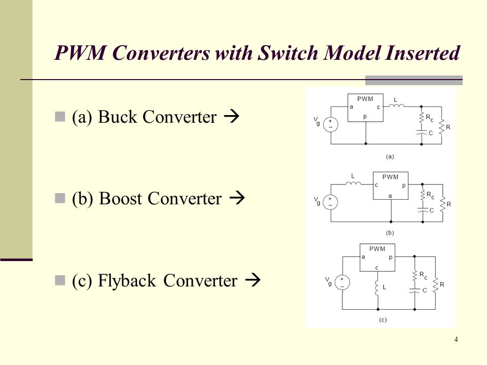 4 PWM Converters with Switch Model Inserted (a) Buck Converter (b) Boost Converter (c) Flyback Converter