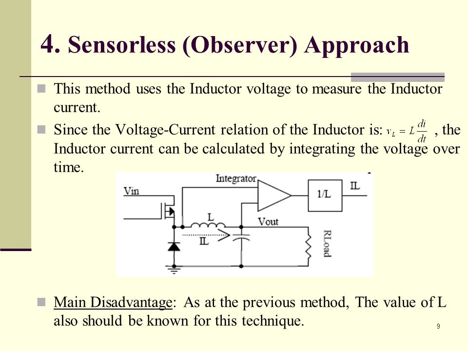9 4. Sensorless (Observer) Approach This method uses the Inductor voltage to measure the Inductor current. Since the Voltage-Current relation of the I