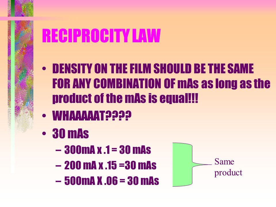 RECIPROCITY LAW DENSITY ON THE FILM SHOULD BE THE SAME FOR ANY COMBINATION OF mAs as long as the product of the mAs is equal!!! WHAAAAAT???? 30 mAs –3