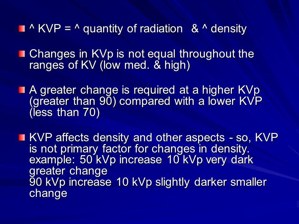 ^ KVP = ^ quantity of radiation & ^ density Changes in KVp is not equal throughout the ranges of KV (low med.