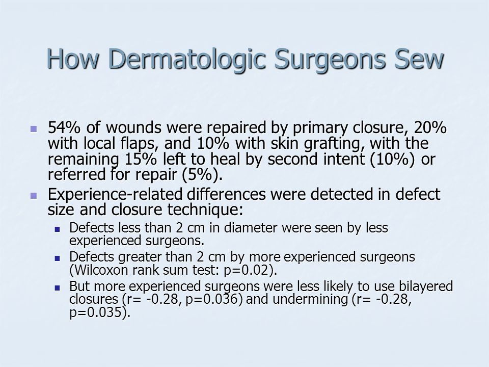 How Dermatologic Surgeons Sew: Conclusions Undermining, cautery, and bilayered closures are performed routinely on most defects prepared for closure.