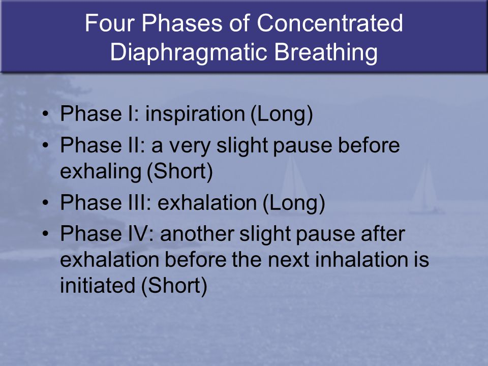 Four Phases of Concentrated Diaphragmatic Breathing Phase I: inspiration (Long) Phase II: a very slight pause before exhaling (Short) Phase III: exhal