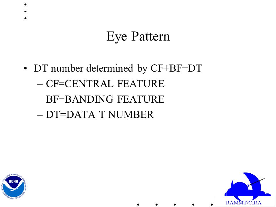 RAMMT/CIRA Eye Pattern DT number determined by CF+BF=DT –CF=CENTRAL FEATURE –BF=BANDING FEATURE –DT=DATA T NUMBER