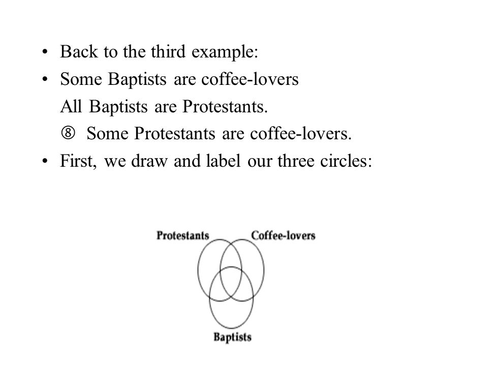Back to the third example: Some Baptists are coffee-lovers All Baptists are Protestants.