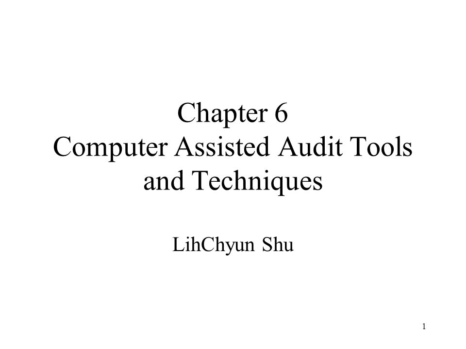 1 Chapter 6 Computer Assisted Audit Tools and Techniques LihChyun Shu