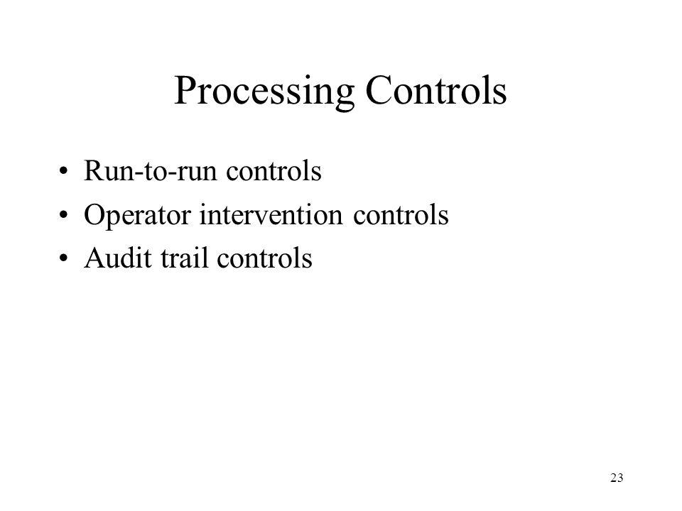 23 Processing Controls Run-to-run controls Operator intervention controls Audit trail controls