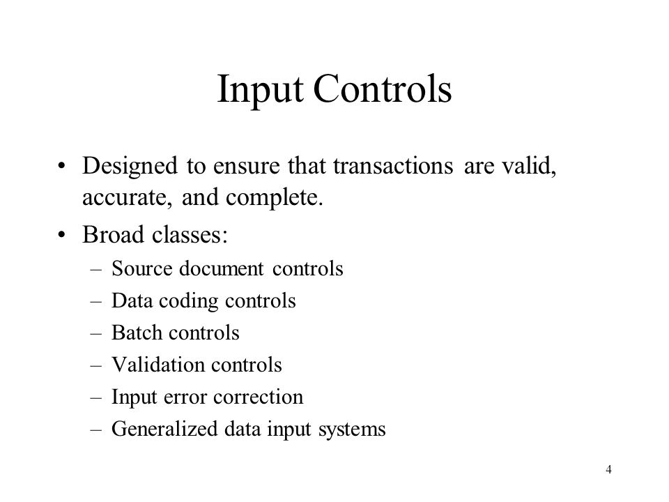 5 Source document controls Techniques to prevent source document fraud (for example, an individual with access to purchase orders and receiving reports could fabricate a purchase transaction to a non-existent supplier) –Use pre-numbered source documents –Use source documents in sequence –Periodically audit source documents