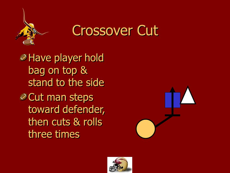 Crossover Cut Have player hold bag on top & stand to the side Cut man steps toward defender, then cuts & rolls three times Have player hold bag on top