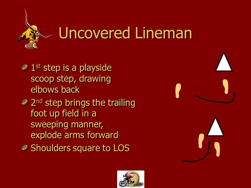 Uncovered Lineman 1 st step is a playside scoop step, drawing elbows back 2 nd step brings the trailing foot up field in a sweeping manner, explode ar