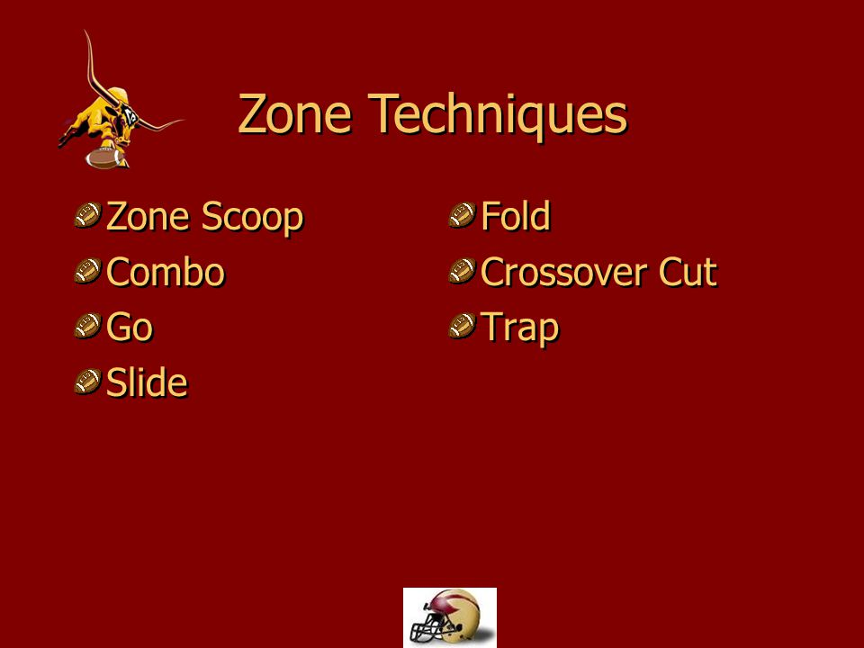 Used for both inside & outside zone run Each lineman zone scoop steps playside Blocking an area, not a set defender Used for both inside & outside zone run Each lineman zone scoop steps playside Blocking an area, not a set defender Zone Scoop