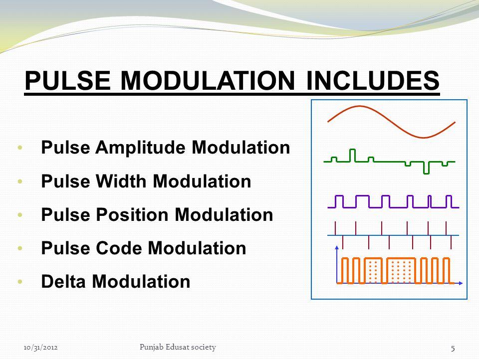 5 PULSE MODULATION INCLUDES Pulse Amplitude Modulation Pulse Width Modulation Pulse Position Modulation Pulse Code Modulation Delta Modulation 510/31/2012Punjab Edusat society