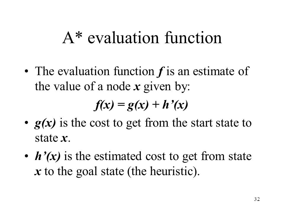 32 A* evaluation function The evaluation function f is an estimate of the value of a node x given by: f(x) = g(x) + h(x) g(x) is the cost to get from