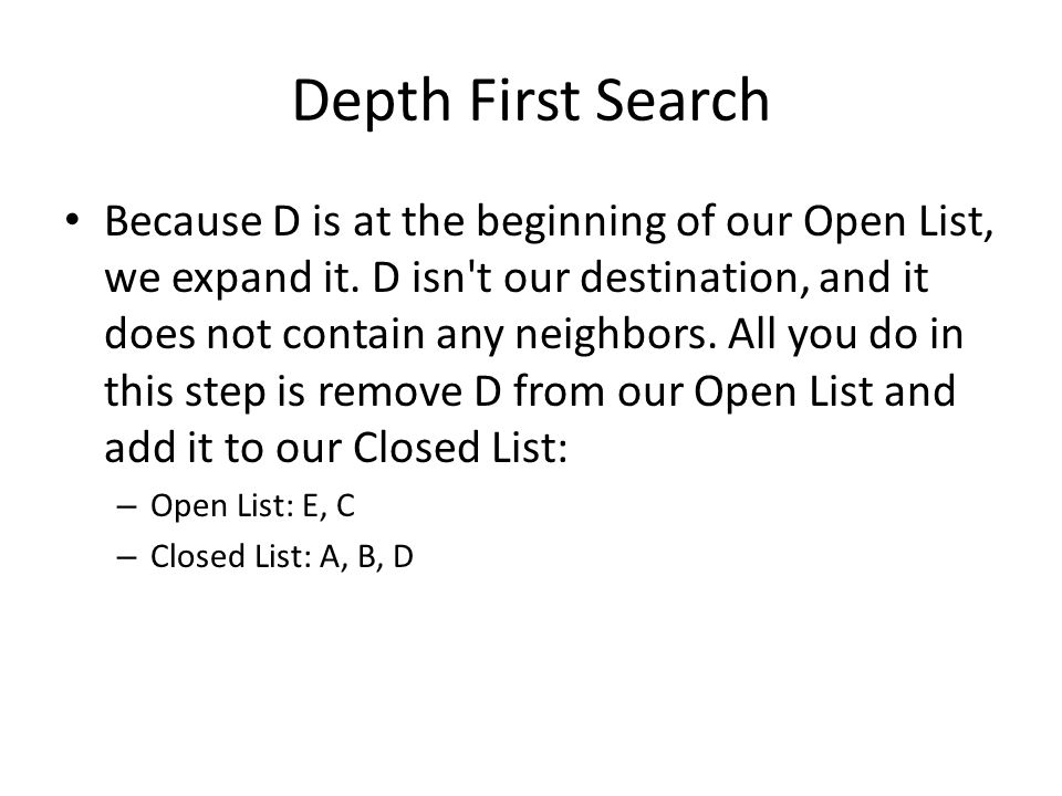 Depth First Search Because D is at the beginning of our Open List, we expand it.