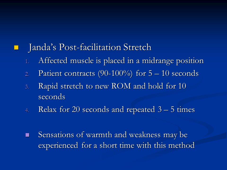Jandas Post-facilitation Stretch Jandas Post-facilitation Stretch 1. Affected muscle is placed in a midrange position 2. Patient contracts (90-100%) f