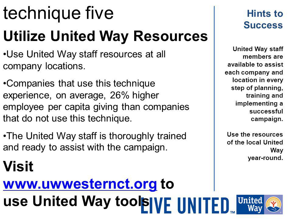 Utilize United Way Resources technique five Hints to Success United Way staff members are available to assist each company and location in every step