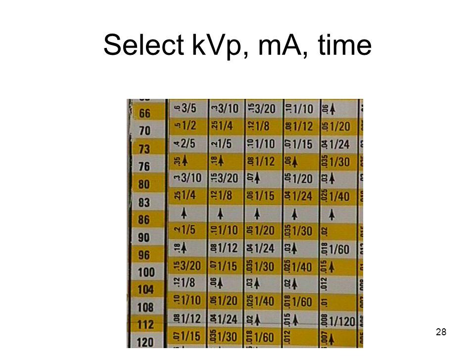 28 Select kVp, mA, time