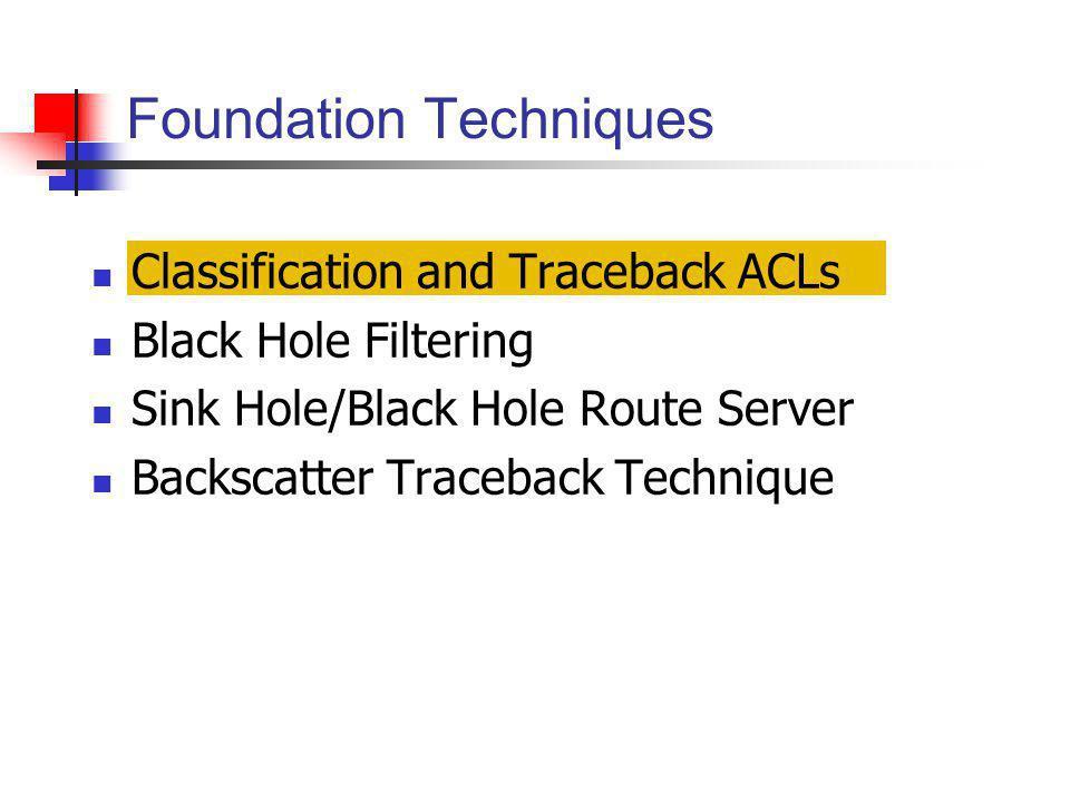 Classification and Traceback ACLs Black Hole Filtering Sink Hole/Black Hole Route Server Backscatter Traceback Technique