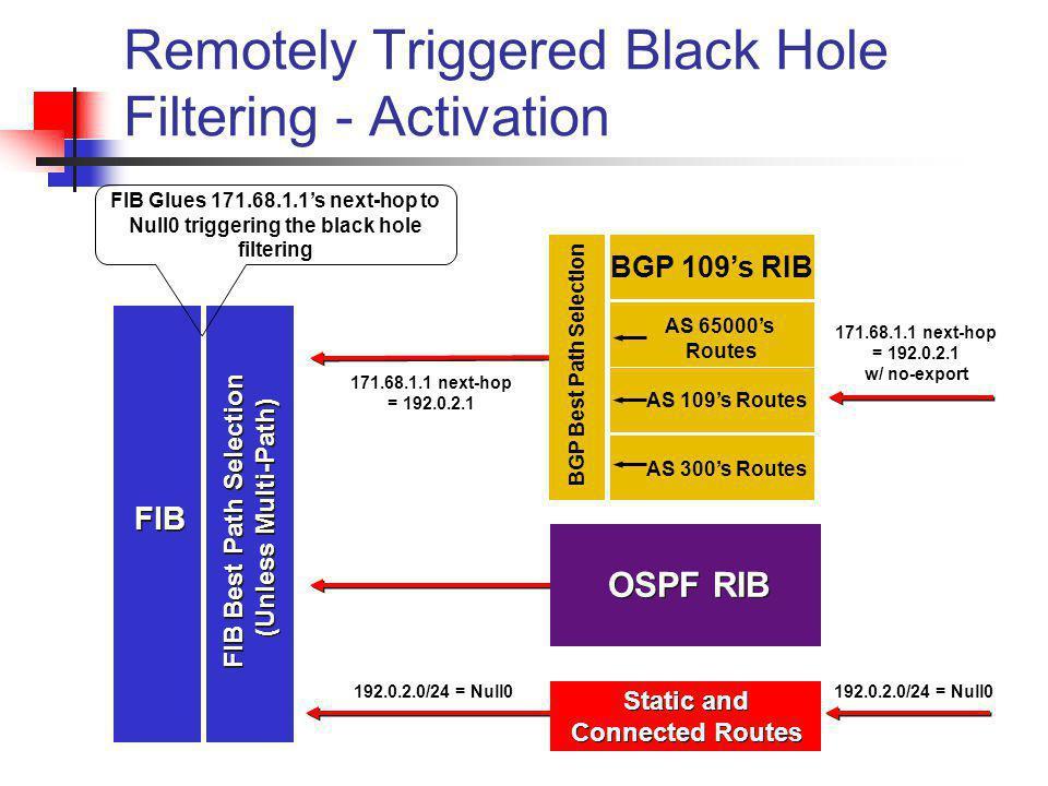 BGP Best Path Selection BGP 109s RIB AS 65000s Routes AS 109s Routes AS 300s Routes OSPF RIB Static and Connected Routes FIB FIB Best Path Selection (