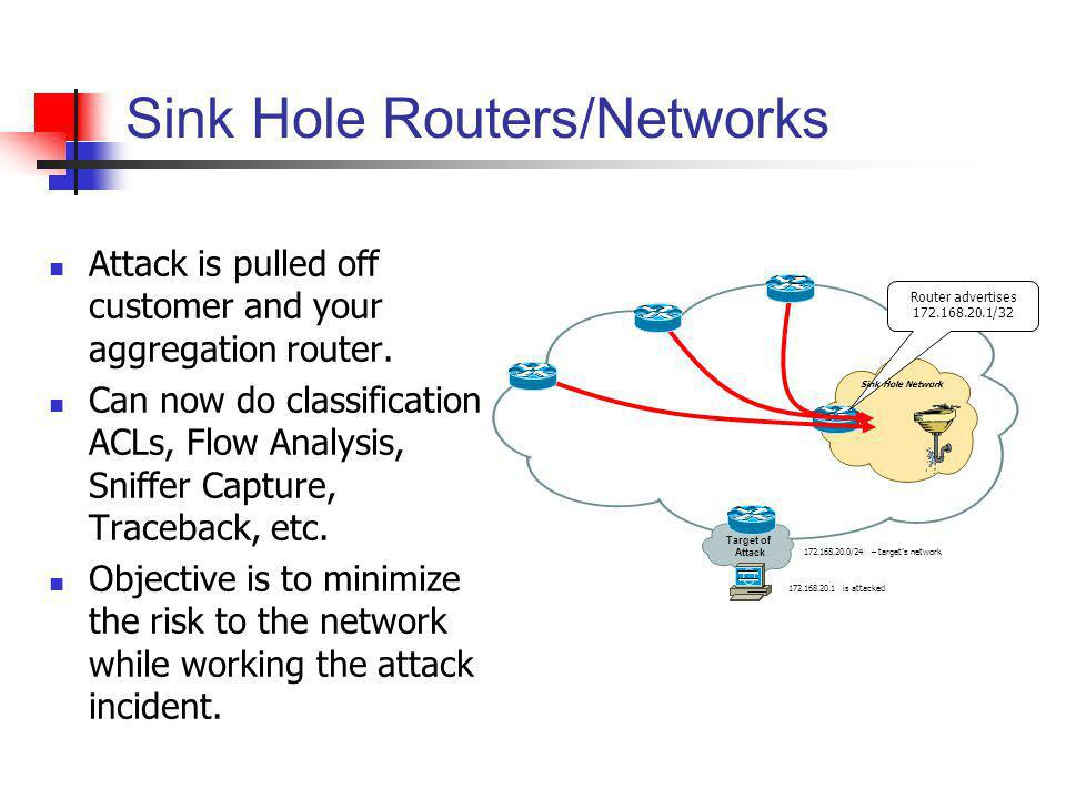 Sink Hole Routers/Networks Attack is pulled off customer and your aggregation router. Can now do classification ACLs, Flow Analysis, Sniffer Capture,