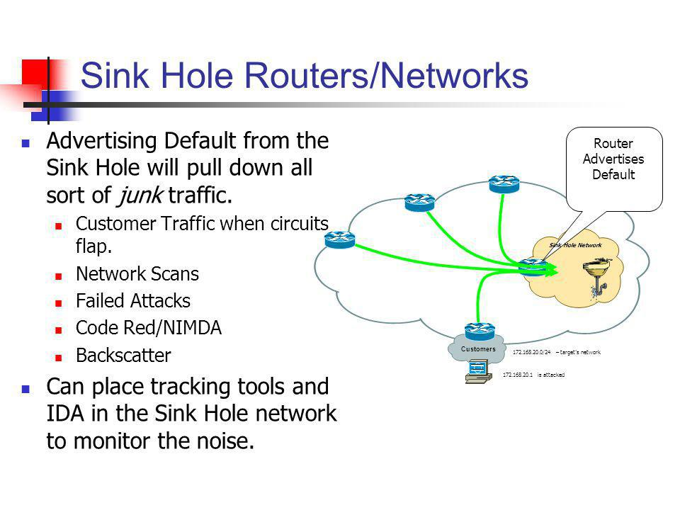 Sink Hole Routers/Networks Advertising Default from the Sink Hole will pull down all sort of junk traffic. Customer Traffic when circuits flap. Networ