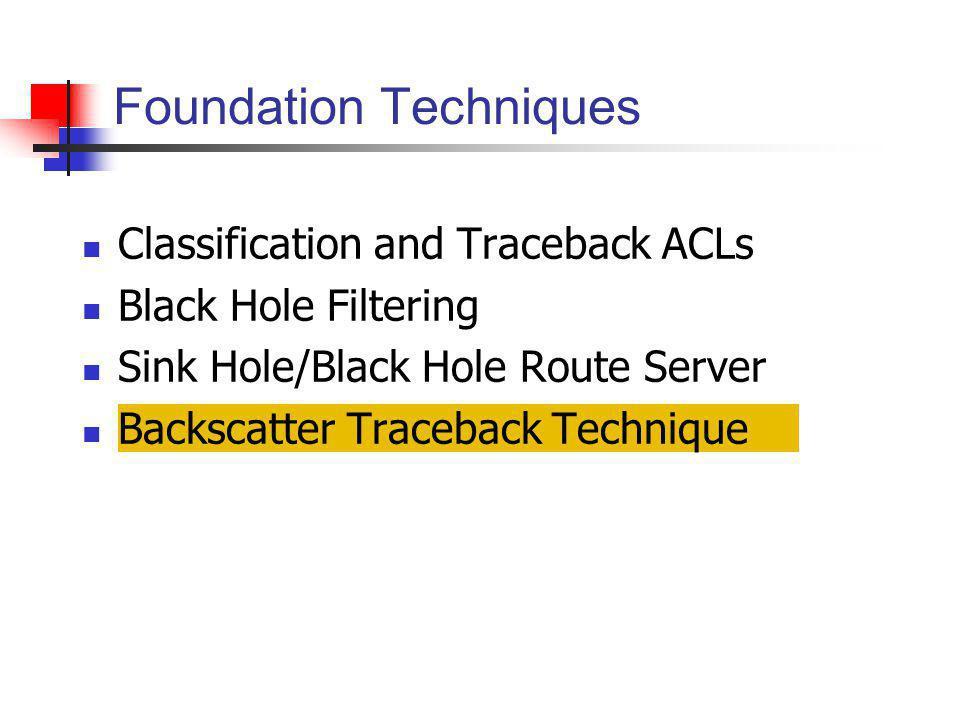 Classification and Traceback ACLs Black Hole Filtering Sink Hole/Black Hole Route Server Backscatter Traceback Technique Foundation Techniques