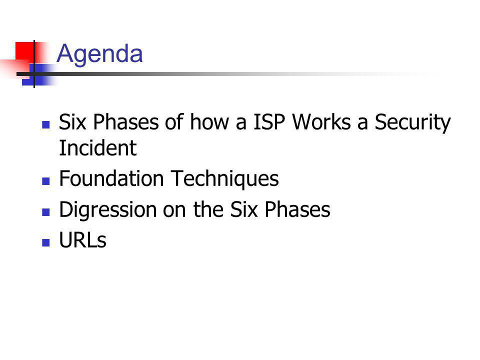 Agenda Six Phases of how a ISP Works a Security Incident Foundation Techniques Digression on the Six Phases URLs