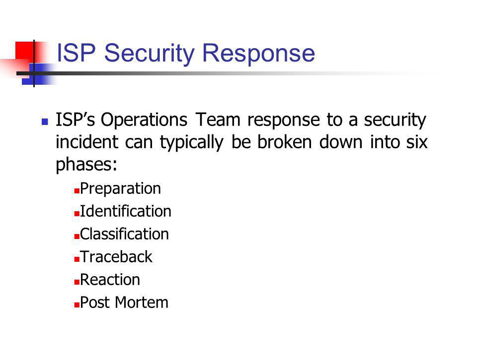 ISP Security Response ISPs Operations Team response to a security incident can typically be broken down into six phases: Preparation Identification Cl